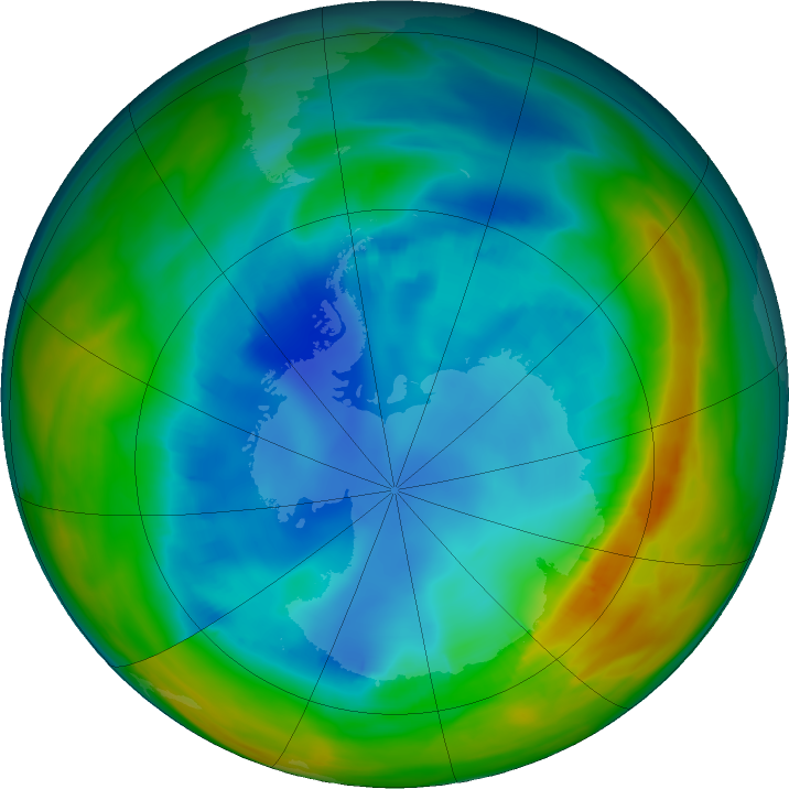 Antarctic ozone map for 10 August 2019